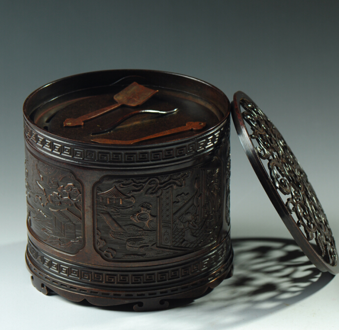 宝篆沉香  圆浮雕铜炉 篆香香道铜香炉 圆柱形香炉