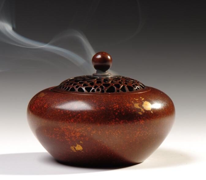 宝篆沉香  洒金小扁体式熏香炉  篆香、隔火熏香香道用具